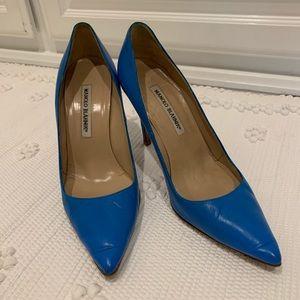 Blue Manolo pumps